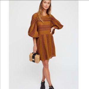Free People Lily Oversized Striped Mini Dress - XS
